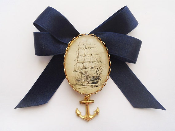 Nautical Bow Brooch - Navy Blue Sailboat Romantic Baroque Vintage - Anchor Charm Cameo - Steampunk Gothic