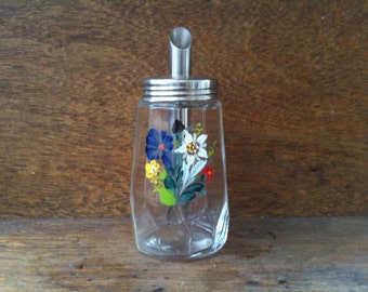 Vintage English glass sugar dispenser shaker pourer with painted flower detail circa 1960's / English Shop