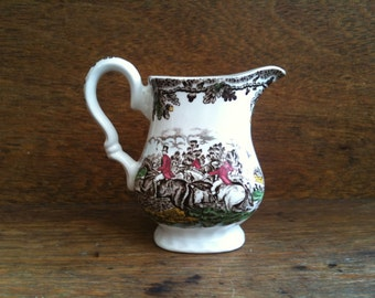 Vintage English Creamer Gravy Sauce Jug Pitcher with Horseback Riders Hunt circa 1950's / English Shop
