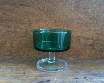 Vintage French green sweet serving pudding glass dish bowl circa 1970's / English Shop