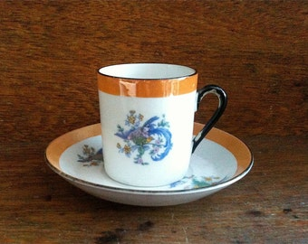 Vintage English Asian Style Flower Tiny Shiny Cup with Saucer circa 1950-60's / English Shop