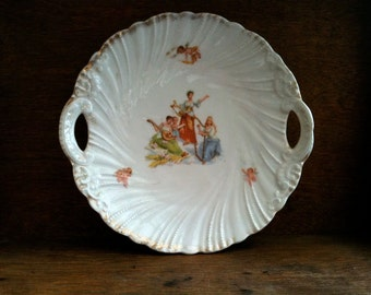 Vintage English Goddess Musicians Harp Serving Plate, with Angels circa 1930's / English Shop