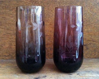 Vintage English Etched Glass Pair Mismatched Pair Smoky and Wine Color circa 1950-60's / English Shop
