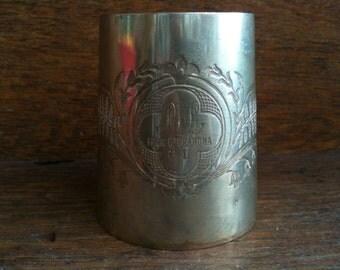 Vintage English Small Silver Metal Gift Cup Tankard Drinking circa 1950's / English Shop