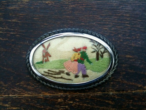 Vintage Dutch embroidery brooch with windmill and lovers circa 1960's / English Shop