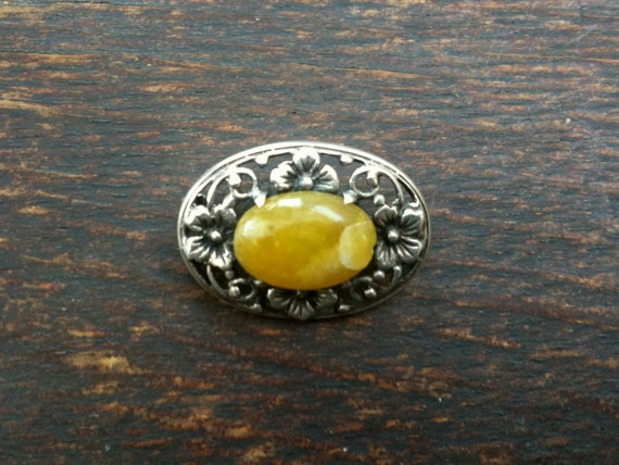 Vintage English Flower Design Pin Brooch Yellow Stone & Silver Metal Hardware - No Pin on Back circa 1950's / English Shop