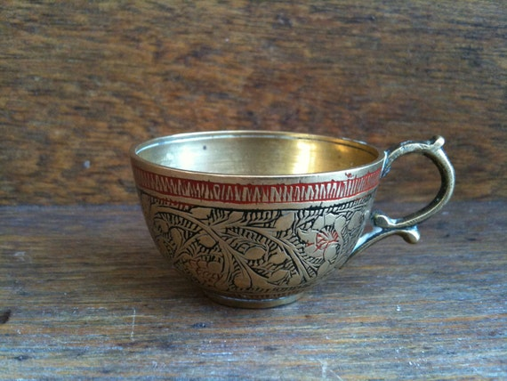 Vintage Small Brass Cup / English Shop