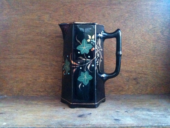 Antique English black flower milk water jug pitcher with gold and green plant details circa 1910's / English Shop