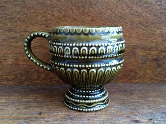 Vintage English Green Ceramic Cup Mug Hobnail circa 1960's / English Shop