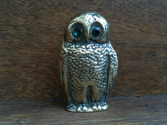 Vintage English Owl with Green Eyes / English Shop