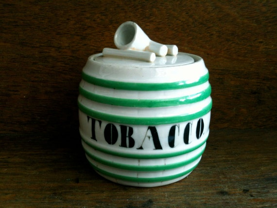 Vintage English Tobacco Barrel Pot JarPipe Smoking Tobacciana circa 1940-50's / English Shop