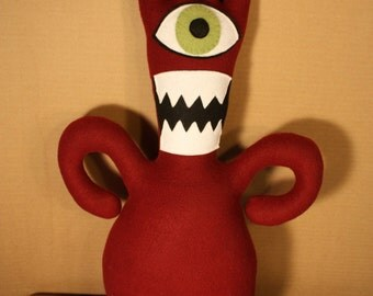 Maurice the Crazy Haired Maroon Cyclops Plush Monster