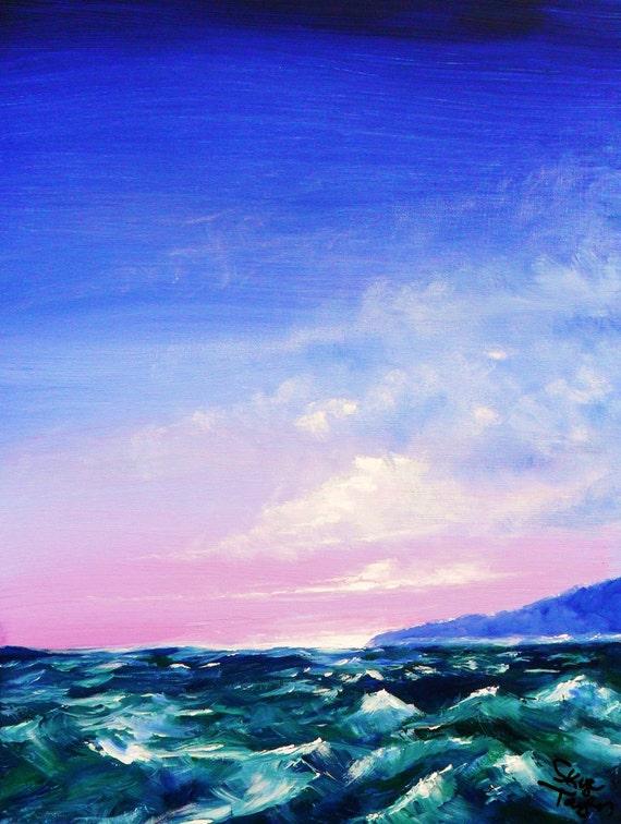 Original Seascape - Blue Island - 24 x 18 - Skye Taylor