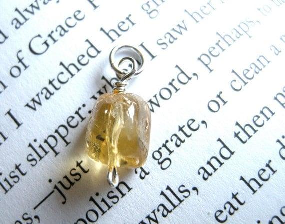 Golden Honeycomb--TINY Citrine Nugget Pendant / Yellow, Bright