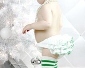 White and Green Ruffle Diaper Cover Bloomer Ruffle Pants Panty White Green