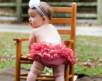 Ruffle Bloomers Diaper Cover Sassy Fancy Pants Panty Red Gingham