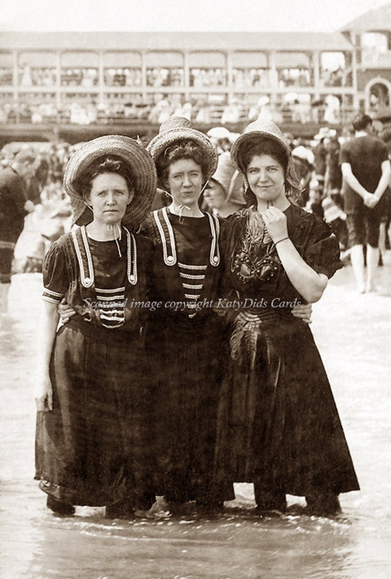 Atlantic City Bathing Beauties Turn of Century Repro Greeting Card