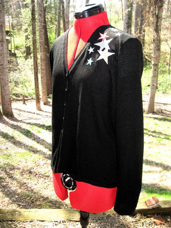 """SALE Upcycled cardigan """"Stars Above"""" one-of-a-kind"""