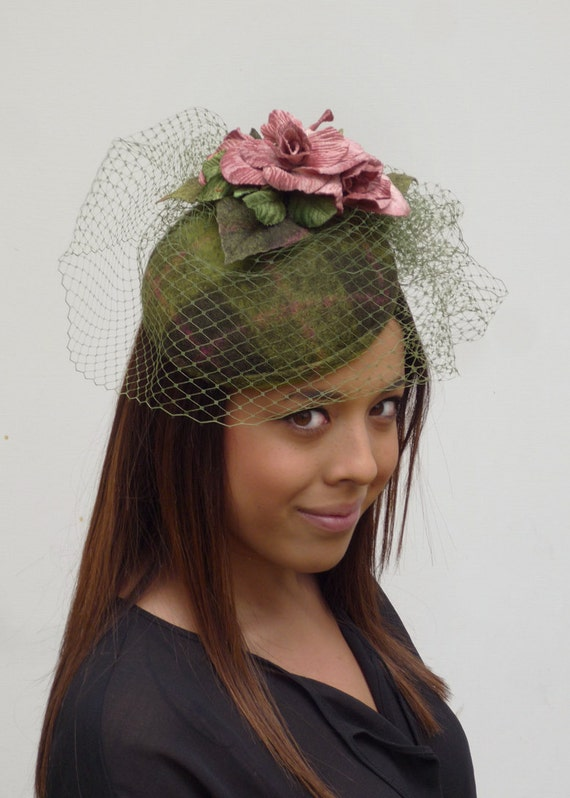 Dutch design completely handmade and handblocked mini hat multi colour green with pink vintage flowers  veiling is optional but included