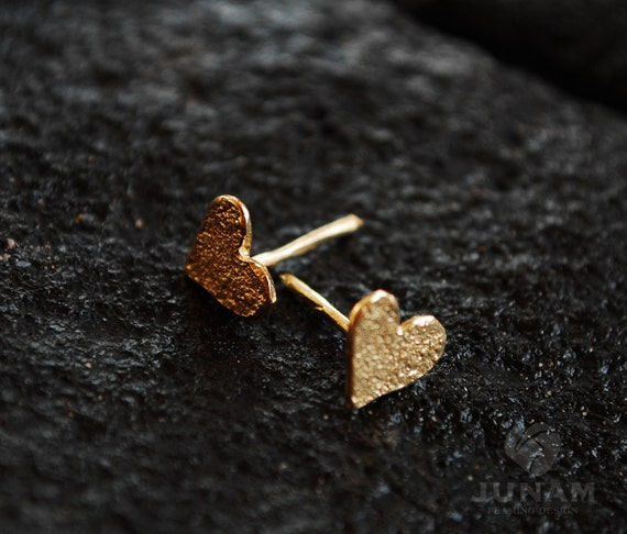 Gold Heart Earrings gold plated,valentines gift,wedding,bridal jewelry,first earrings,gift for teen,handmade,love hearts,cute