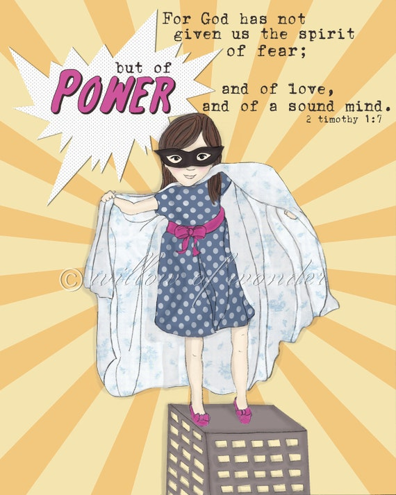 Super Girl - Spirit of POWER  - Scripture Art Print - Children's room wall art - girl's nursery decor