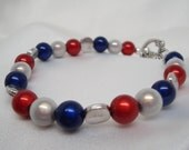 Red White and Blue Beaded Bracelet with Pewter Findings