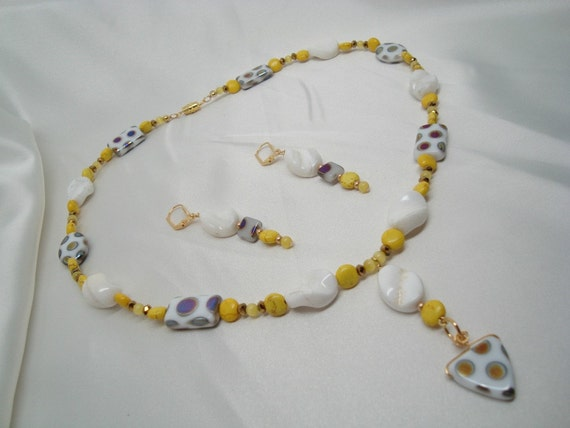 Yellow and White Necklace and Earrings