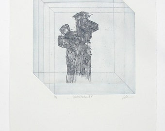 Original UNFRAMED Etching Print - 'Selected, Contained V'