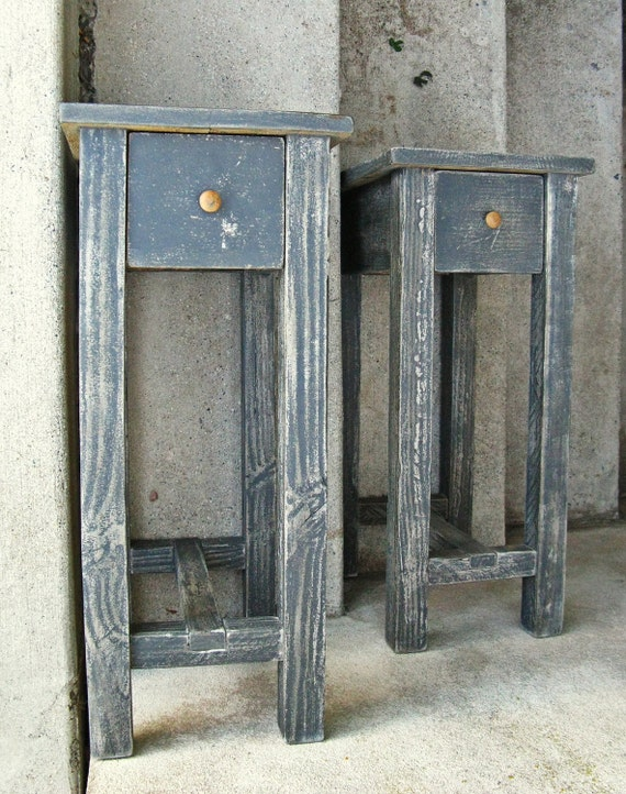The Scrivener in Pumice Black--- Distressed End Table