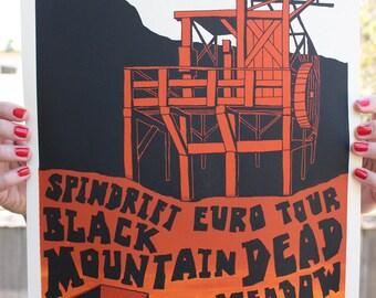 """Tour Poster Original Silk Screen Print-  Black Mountain, Dead Meadow, Spindrift - Gold Mining, 12"""" x 18"""""""