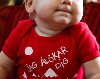 Swedish I Love You Polar Bears Screen Printed Baby Bodysuit   - sz 3m-6m American Apparel
