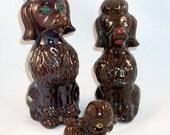 Midcentury Ceramic Poodles Figurines Family