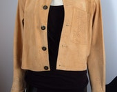 Vintage Suede Lightweight Jacket with Pointelle Details