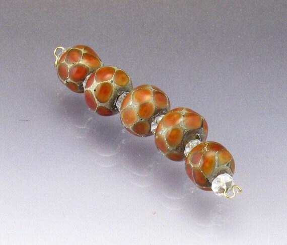 Orange glass bead set Lampwork glass bead set orange lampwork Caramel beads Small orange beads Earthy beads Sea rocks round Anne Londez  SRA