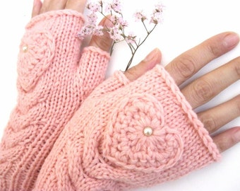 Pink Fingerless  Gloves with a heart, Mittens, Arm Warmers , Hand Knitted, Eco Friendly