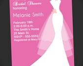 Wedding Dress Bridal Shower Invitation (Printable Digital File)