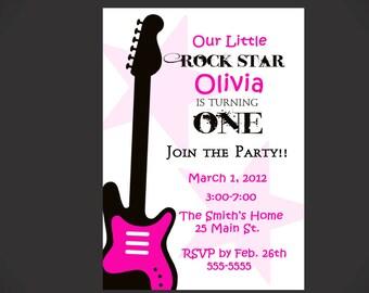 Rock Star 1st Birthday Invitation for Girls