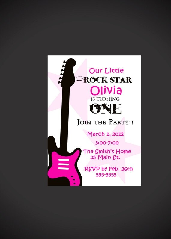 Rock Star 1st Birthday Invitation for Girls