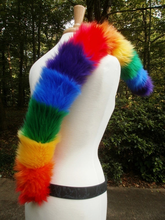 Classic Red Rainbow OR Hot Pink Rainbow Striped Cat Tail