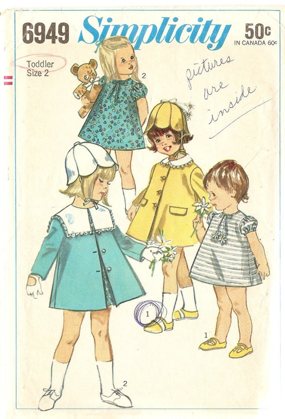 Vintage Girls A-line Dress, Coat and Tulip Hat Pattern Simplicity 6949 Complete 1960s size 2 bust 21""