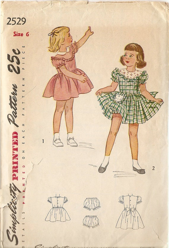 "1950s Girls Dress Pattern size 6 Party Dress Pattern Simplicity 2529 bust 24"" Complete Vintage Sewing Pattern"
