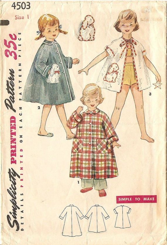 Girls Robe Pattern w/ Bunny Transfer size 1 1950s Beach Robe / Bath Robe Vintage Sewing Pattern Simplicity Pattern 4503