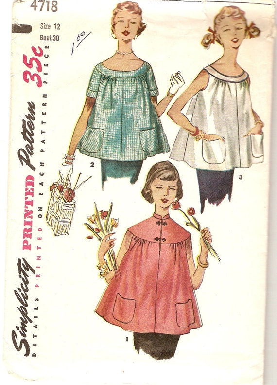 """Vintage 1950s Maternity Top Pattern 3 Styles Simplicity 4718 Complete size 12 bust 30"""" Sewing Pattern"""