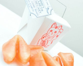 Fortune Cookies Soap in take out box - food soap - lucky soap - scented Vanilla Almond