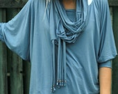 ON SALE Blue violet infinity scarf with fringe decor
