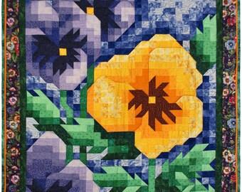 Mosaic Art Quilt  - Pansy Original Wall hanging Quilt