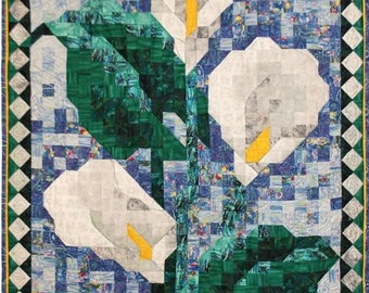 PDF Quilt Pattern - Calla Lily Mosaic Art Quilt Pattern - Immediate Download