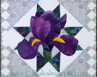 Quilt Pattern - PDF - Iris Applique Art Quilt Pattern - Immediate Download