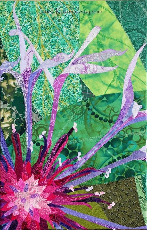 Art Quilt - Centaurea Cyanus Triptych