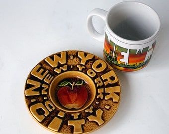 Vintage New York City Souvenir Mug and Ceramic Dish, Seventies, Amazing Graphics